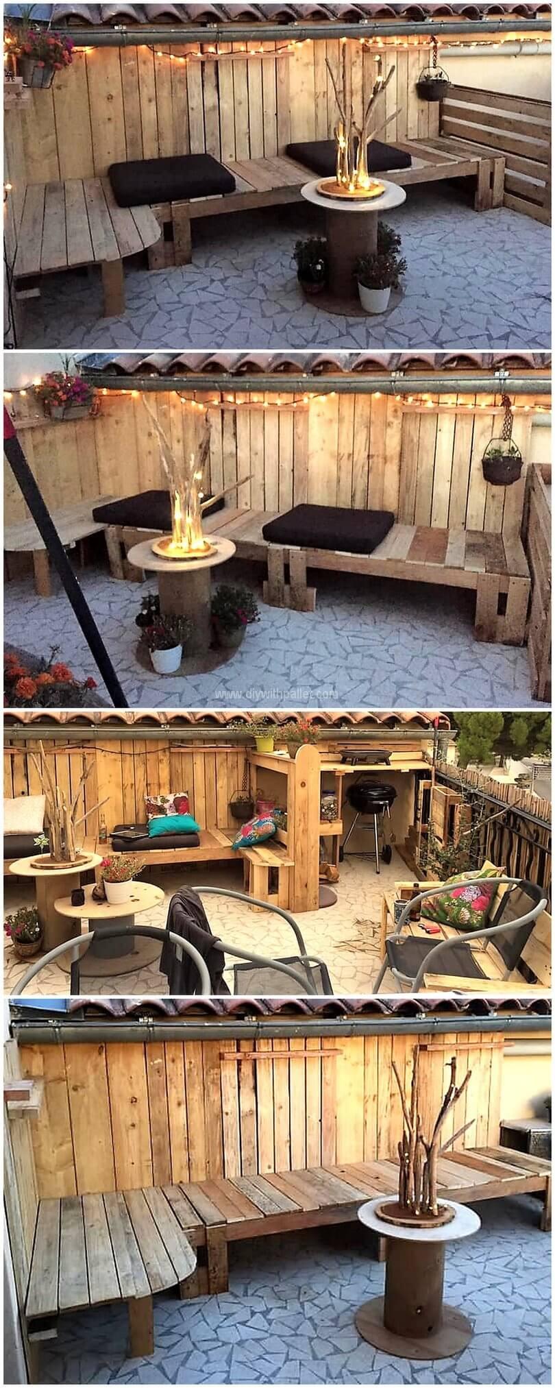 Wood pallets outdoor set